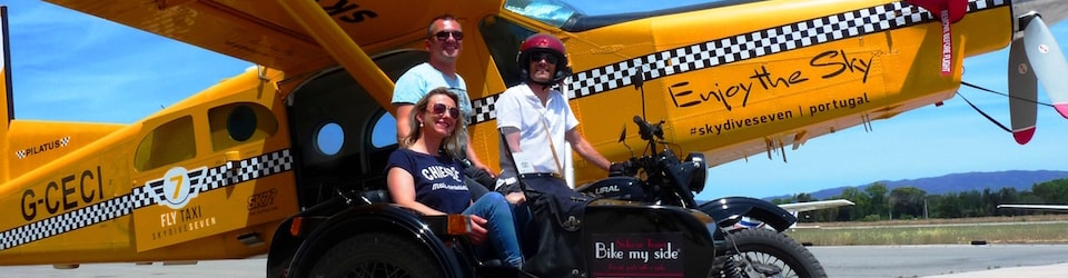 Skydiving and sidecar ride experience